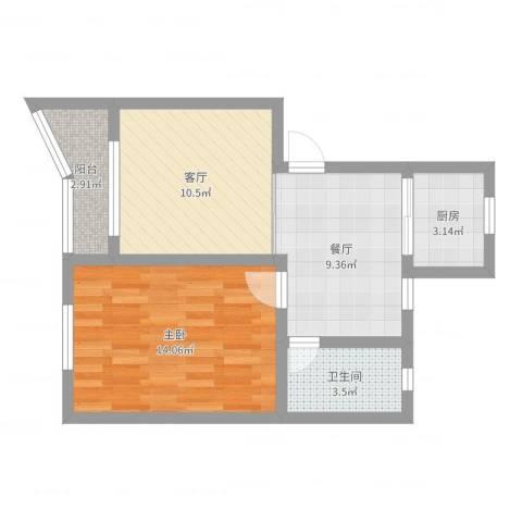 海滨新二村29#5011室2厅1卫1厨54.00㎡户型图