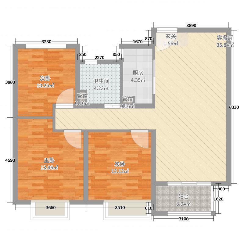 世茂天城105.00㎡1号楼3号楼C1\'户型3室3厅1卫1厨