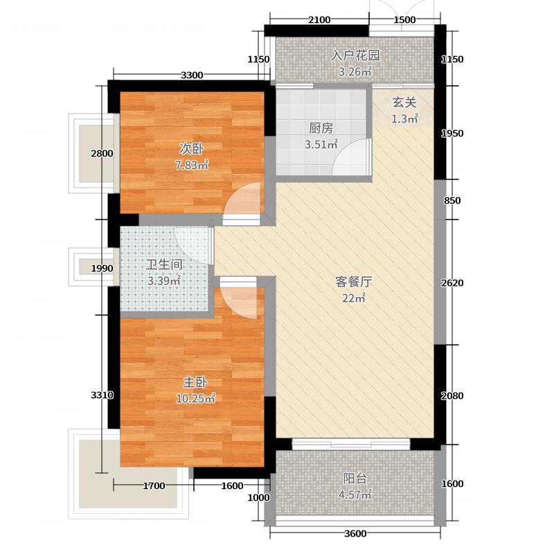 风度盛荟73.00㎡3栋4栋03户型2室2厅1卫1厨