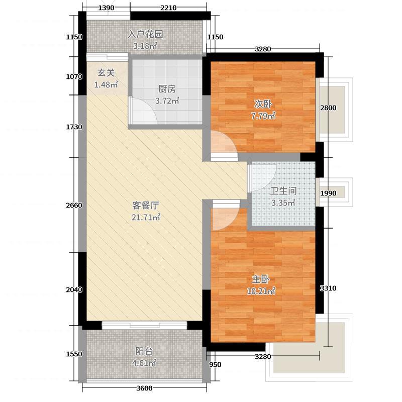 风度盛荟74.00㎡3栋4栋04户型2室2厅1卫1厨