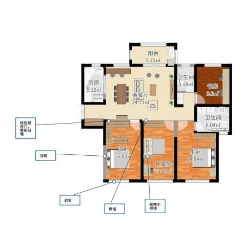 力高阳光海岸4室2厅2卫1厨124.00㎡户型图