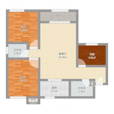 百欣花园3室2厅2卫1厨95.00㎡户型图