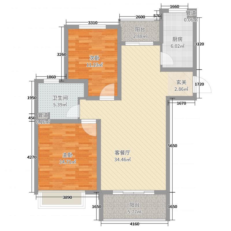 外海中央花园99.80㎡4区2号3号5号6号楼G2-3户型3室3厅1卫1厨