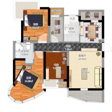 南昌铜锣湾广场3室2厅1卫1厨102.00㎡户型图