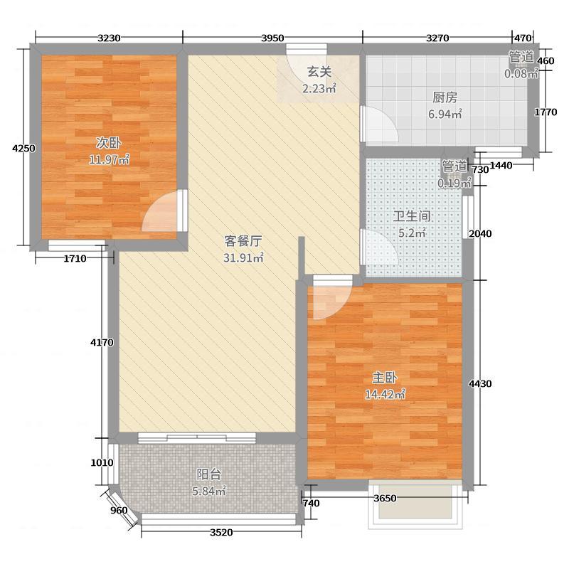 外海中央花园94.77㎡4区2号3号5号6号楼G1-2户型2室2厅1卫1厨