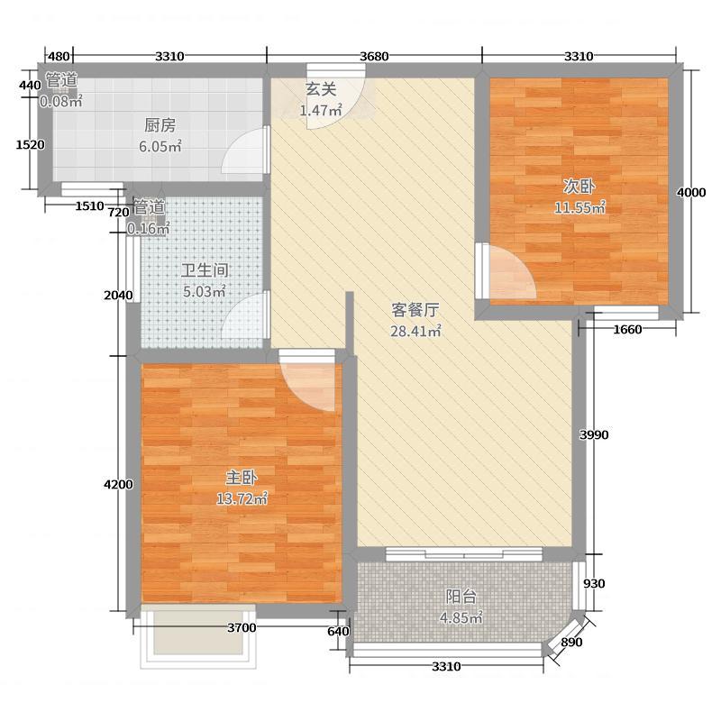 外海中央花园87.10㎡4区2号3号5号6号楼G1-1户型2室2厅1卫1厨