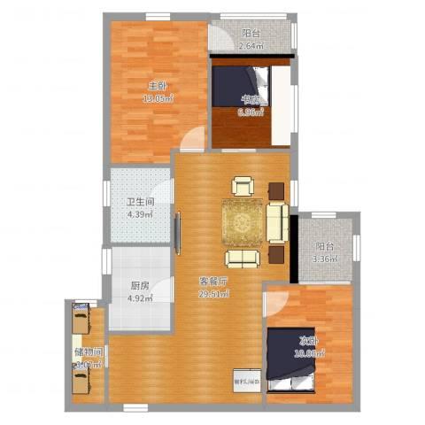 湖景阁3室2厅1卫1厨97.00㎡户型图