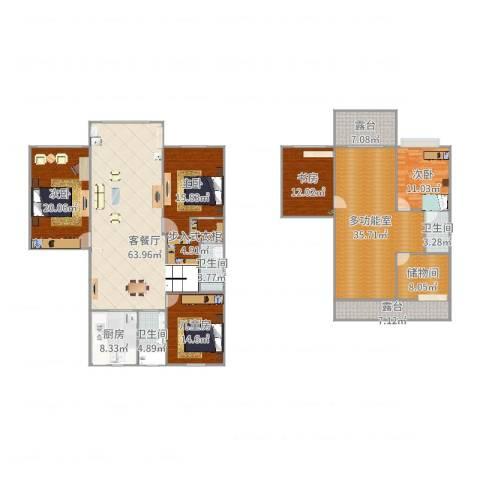 鸿基公寓4室2厅3卫1厨206.05㎡户型图
