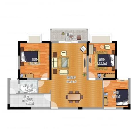 在水一方3室2厅1卫1厨120.00㎡户型图