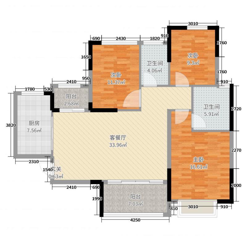 宜春・恒大绿洲123.14㎡精装高层01户型3室3厅2卫1厨