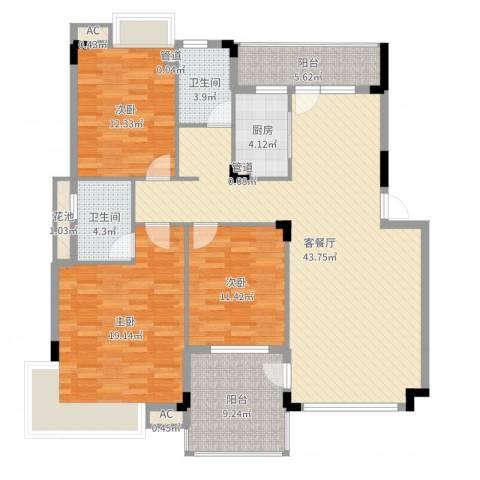 恒瑞蓝湾印象3室2厅2卫1厨145.00㎡户型图