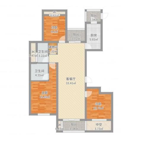 九龙华府3室2厅2卫1厨122.00㎡户型图