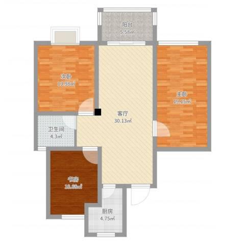 金色新城3室1厅1卫1厨111.00㎡户型图