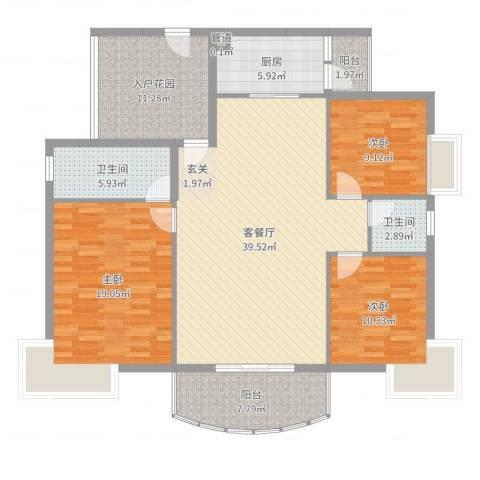 香堤雅湾3室2厅2卫1厨142.00㎡户型图