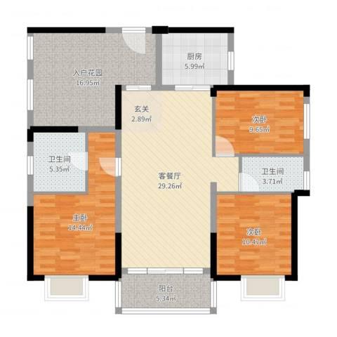 塘厦中信凯旋城3室2厅2卫1厨126.00㎡户型图