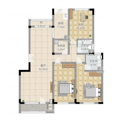 复地哥德堡森林三期墅香洋房3室1厅2卫1厨137.00㎡户型图