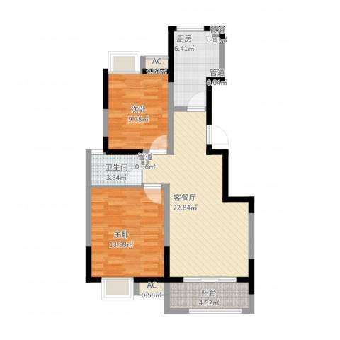 旭辉百合宫馆2室2厅1卫1厨91.00㎡户型图