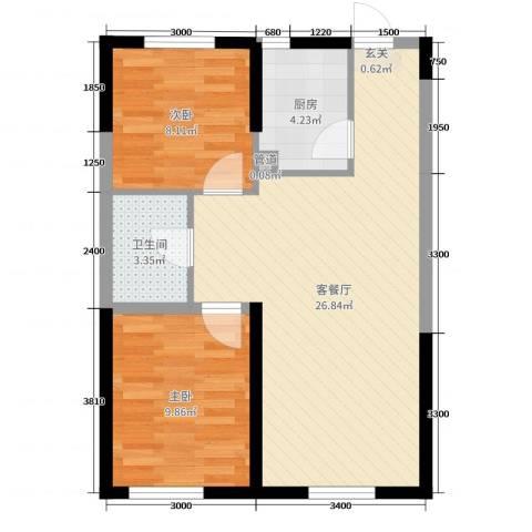 锦城邻里2室2厅1卫1厨83.00㎡户型图
