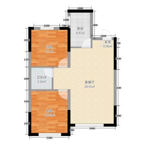 锦城邻里2室2厅1卫1厨84.00㎡户型图