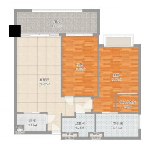 锦绣香江布查特国际公寓2室2厅2卫1厨114.00㎡户型图