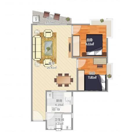 富力东堤湾2室1厅1卫1厨63.00㎡户型图