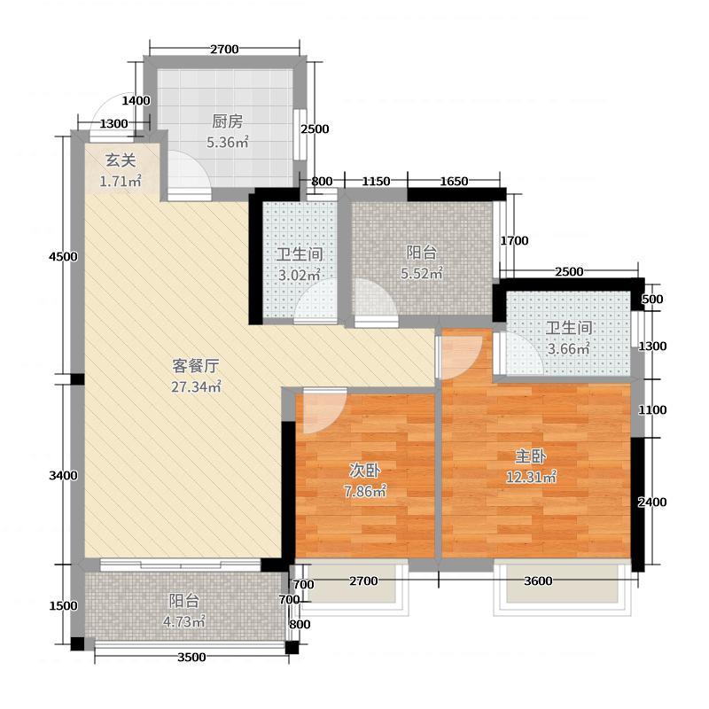 绿岛明珠91.00㎡二期5座03单元户型3室3厅2卫1厨