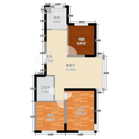 锦城邻里3室2厅1卫1厨102.00㎡户型图