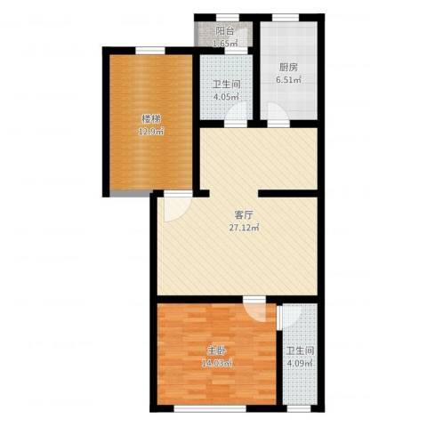 翠屏北里1室1厅2卫1厨88.00㎡户型图