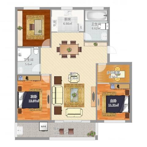 华侨城2室1厅2卫1厨142.00㎡户型图