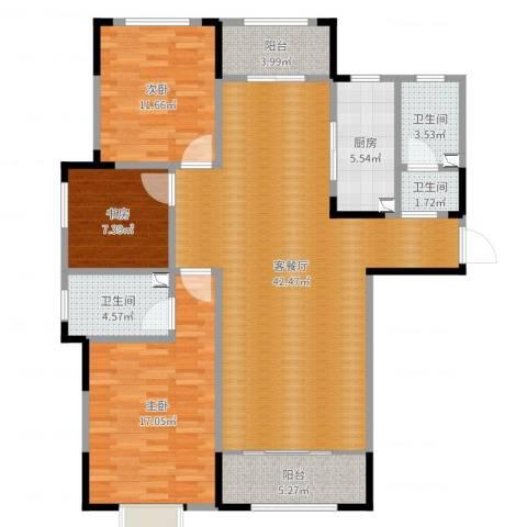 银丰唐郡荷花园3室2厅3卫1厨144.00㎡户型图