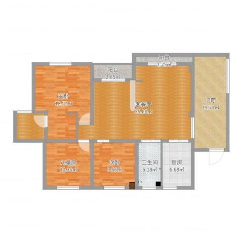 中建康城3室2厅1卫1厨138.00㎡户型图