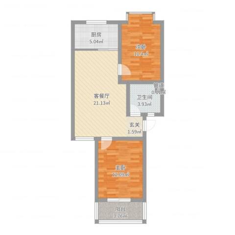 汇景仕嘉2室2厅1卫1厨72.00㎡户型图