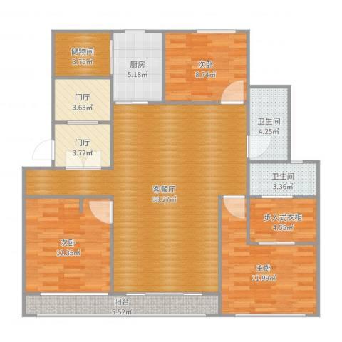 万科翡翠滨江3室2厅2卫1厨132.00㎡户型图