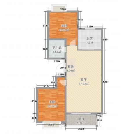 嘉晟阳光城2室1厅1卫1厨108.00㎡户型图