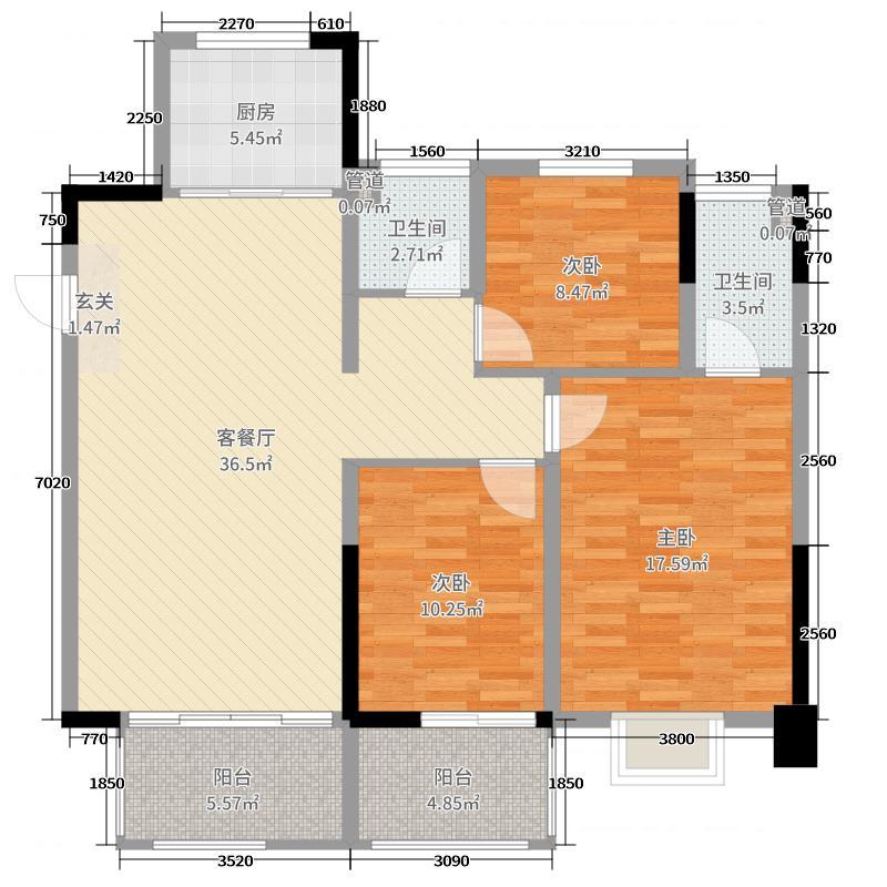 中交锦致项目119.00㎡1期1、2、4、5#标准层A3户型3室3厅1卫1厨