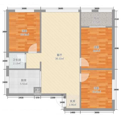 东街雅苑3室1厅1卫1厨96.00㎡户型图
