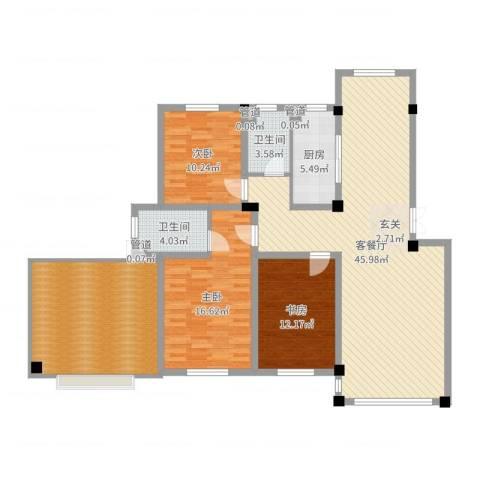 紫金城三期3室2厅2卫1厨148.00㎡户型图