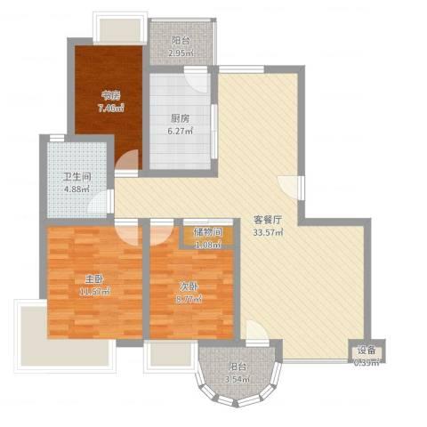 宝林春天苑申江远景3室2厅1卫1厨101.00㎡户型图