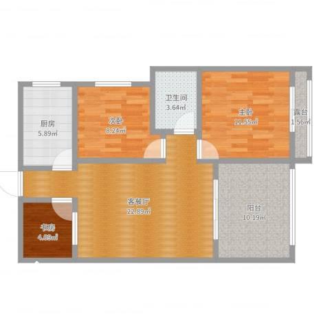 柏林春天1-22023室2厅1卫1厨85.00㎡户型图