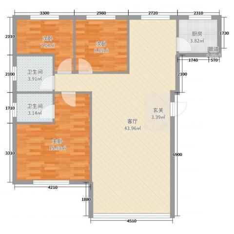 东街雅苑3室1厅2卫1厨128.00㎡户型图