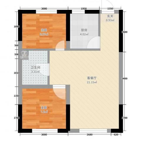 锦城邻里2室2厅1卫1厨67.00㎡户型图
