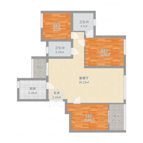 湖东景园3室2厅2卫1厨121.00㎡户型图