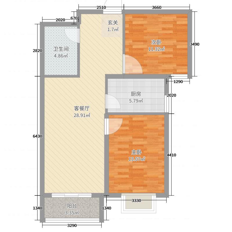 怀来兰顿庄园83.00㎡K5户型2室2厅1卫1厨