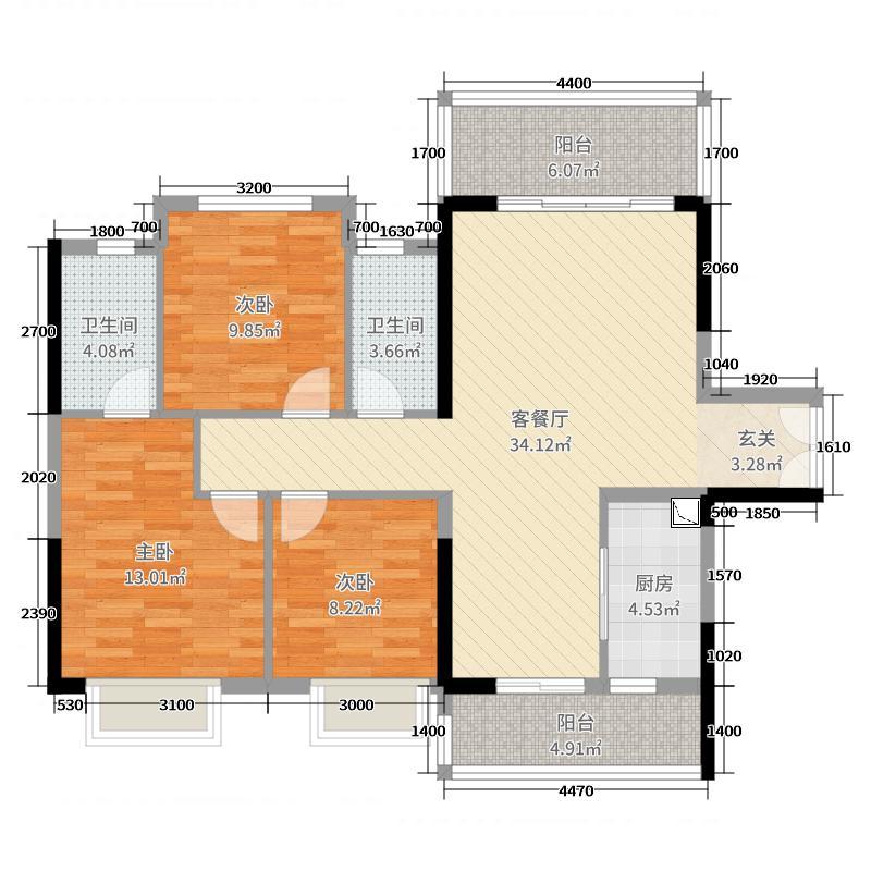 远洋・翡丽郡116.00㎡2期18栋01户型3室3厅2卫1厨