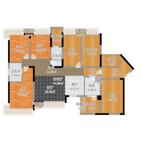 三利宅院3室2厅2卫1厨213.00㎡户型图