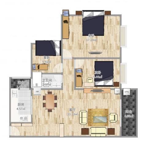 海逸豪庭3室1厅1卫1厨100.00㎡户型图