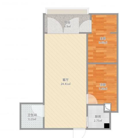 宾悦国际2室1厅1卫1厨64.00㎡户型图
