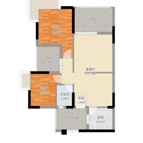 汇星名庭2室2厅1卫1厨93.00㎡户型图