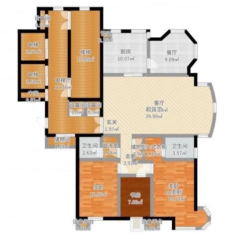 高校建赏欧洲3室1厅2卫1厨189.00㎡户型图