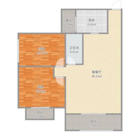 半岛碧桂园2室2厅1卫1厨118.00㎡户型图